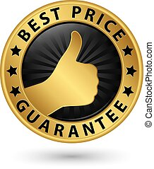Best price guarantee golden label with thumb up, vector illustration