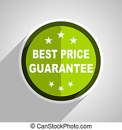 best price guarantee icon, green circle flat design internet button, web and mobile app illustration