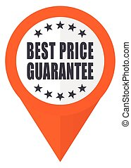 Best price guarantee orange pointer vector icon in eps 10 isolated on white background.
