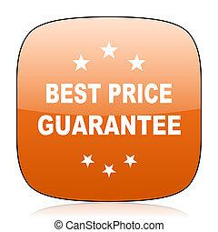 best price guarantee orange square web design glossy icon