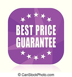 Best price guarantee violet square vector web icon. Internet design and webdesign button in eps 10. Mobile application sign on white background.