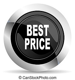 best price icon, black chrome button