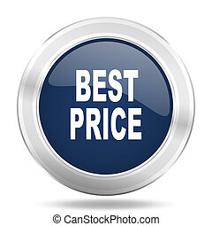 best price icon, dark blue round metallic internet button, web and mobile app illustration