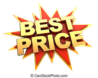 best price icon - golden words best price on red star,...