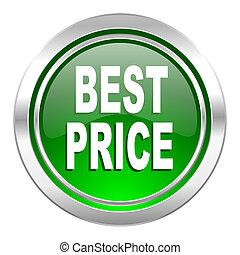 best price icon, green button