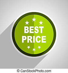 best price icon, green circle flat design internet button, web and mobile app illustration