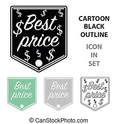 Best price icon in cartoon style isolated on white background. Label symbol stock vector illustration.