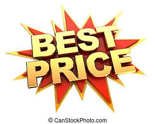 best price icon - golden words best price on red star,...