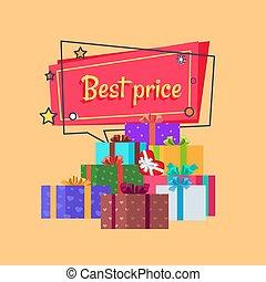 Best Price Inscription in Square Bubble, Presents