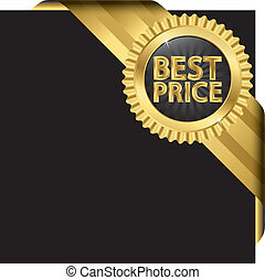 Best price label with ribbons