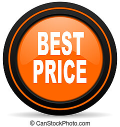 best price orange glossy web icon on white background