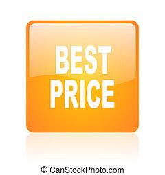 best price orange square glossy web icon