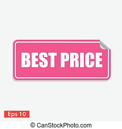 best price pink square sticker isolated on white