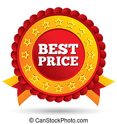 Best price red label with stars and ribbons