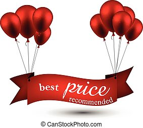 Best price red ribbon background with balloons.