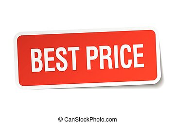 best price red square sticker isolated on white