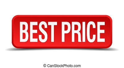 best price red three-dimensional square button isolated on white background