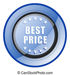 Best price round blue glossy web design icon isolated on white background