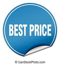 best price round blue sticker isolated on white