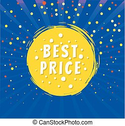 Best Price Round Emblem Isolated on Blue Backdrop
