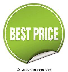 best price round green sticker isolated on white