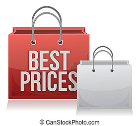 Best price shopping bag illustration design over white
