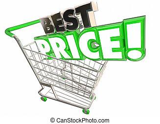 Best Price Shopping Cart Lowest Sale Deal 3d Illustration