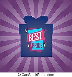 Best price sticker on box silhouette