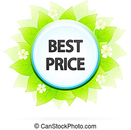 Best Price Symbol with Leaves and Flowers