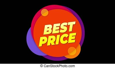 Best Price Flat Style Banner Sticker Colorful Label Popup Promotional Animation. Sale, Discounts, Deals, Special Offers. Green Screen and Alpha Matte