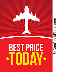 best price with airplane over vintage background vector...