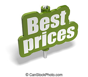 best prices green marker over a white background with shadow - banner is fixer on a metal pin