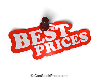 Best prices sticker over a white background with a  pushpin