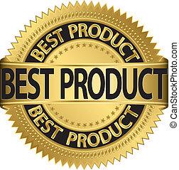 Best product golden label, vector illustration