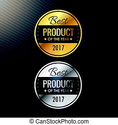 best product of the year badges in gold and silver colors