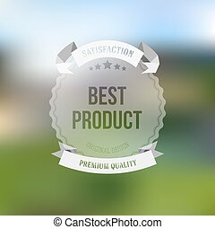 Best product sticker isolated on blurred background