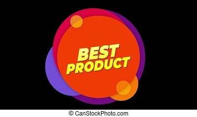 Best Product Text Flat Sticker Colorful Popup Animation.