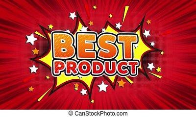 Best Product Word Retro Cartoon Comic Bubbles Seamless loop...