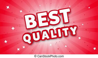 Best Quality 3D Text on Red Sparkling Falling Confetti Background. ad, Promotion, Discount Offer Sale Loop Animation.
