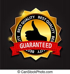 Best Quality Guaranteed Gold Label with Red Ribbon Vector Illust
