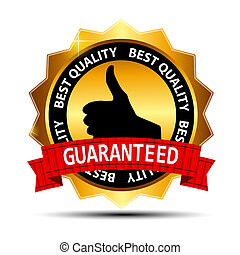 Best quality guaranteed gold label with red ribbon vector illustration