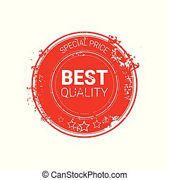 Best Quality Seal Red Grunge Label Isolated Retro Sticker Icon