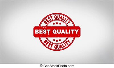 Best Quality Signed Stamping Text Wooden Stamp Animation. Red Ink on Clean White Paper Surface Background with Green matte Background Included.