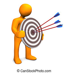 Best Result - Orange cartoon character with target and three...