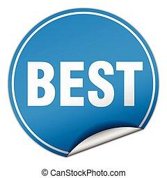 best round blue sticker isolated on white