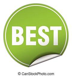 best round green sticker isolated on white