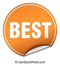 best round orange sticker isolated on white