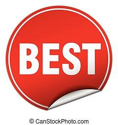 best round red sticker isolated on white