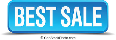 best sale blue 3d realistic square isolated button