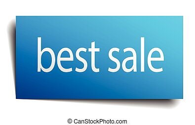 best sale blue square isolated paper sign on white